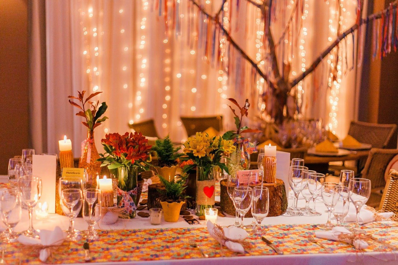 Recanto da Paz - Casamento com tema junino - Decoracao mesas